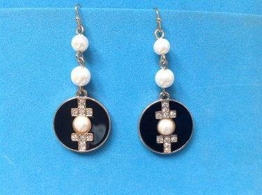 """Pierced earring, white pearl, black enamel & rhinestone.Dangling 2 1/8"""" long, faux pearl."""