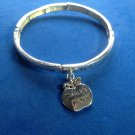 "Silver tone teacher bracelet 2.5"" diameter dangling apple ""Lord let me be a teacher...."""