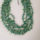 EYE CATCHING GREEN, TURQUOISE & SILVERTONE METAL 5 STRAND BIB NECKLACE