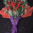 Purple Corset Size 34 wrapped in Bouquet of Red Roses