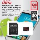 SanDisk 128GB Ultra MicroSD Micro SDXC Class 10 Memory Card 128G Free SD Adapter