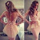 Custom V-neck Flowers Beading Lace Knee Length Full Celebrity Dress
