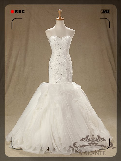 New Arrival Glamorous Full High Quality Lace Appliqued Mermaid Wedding Dresses