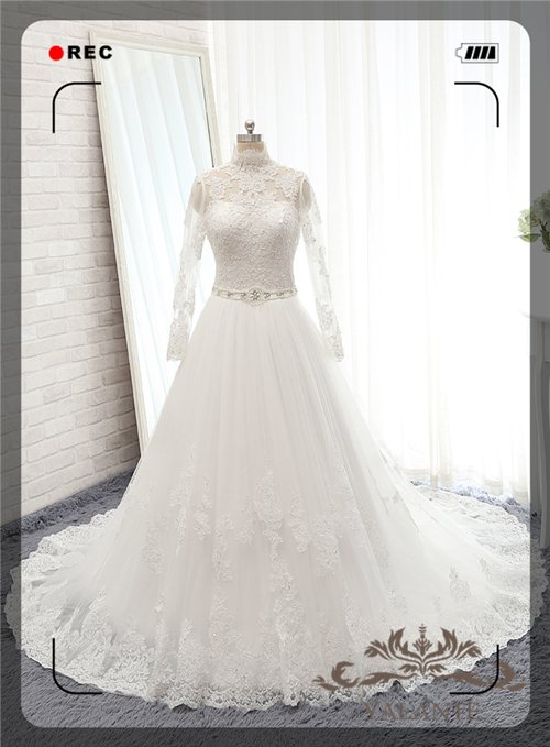 New Arrival Full High Quality Lace Appliqued Bateau Neck Full Sleeves A-line Wedding Dresses