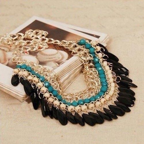 Hot Fashion Jewelry Crystal Chunky Statement Bib Pendant Chain Choker Necklace