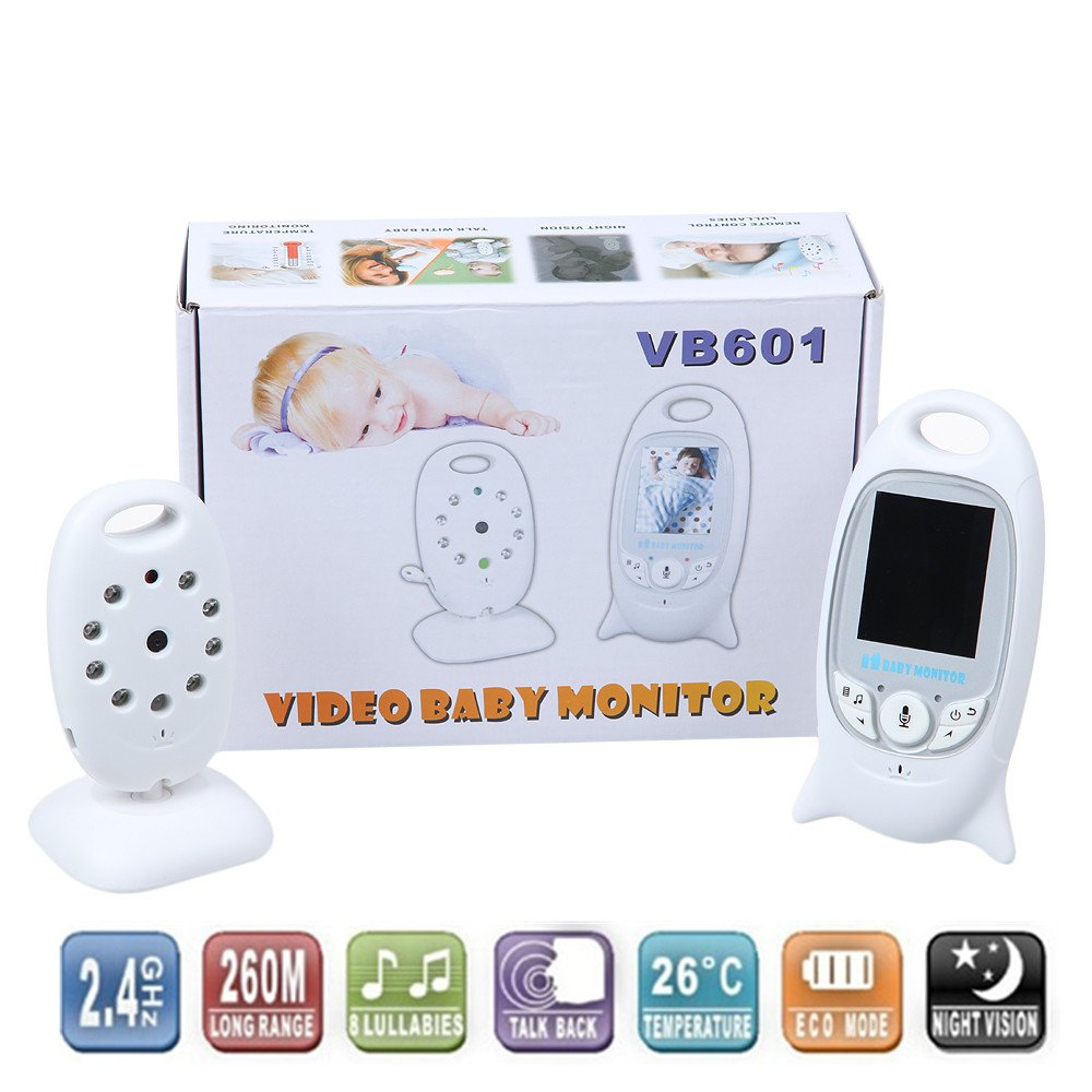 2 0 inch color video wireless baby monitor 2 way talk nigh vision. Black Bedroom Furniture Sets. Home Design Ideas
