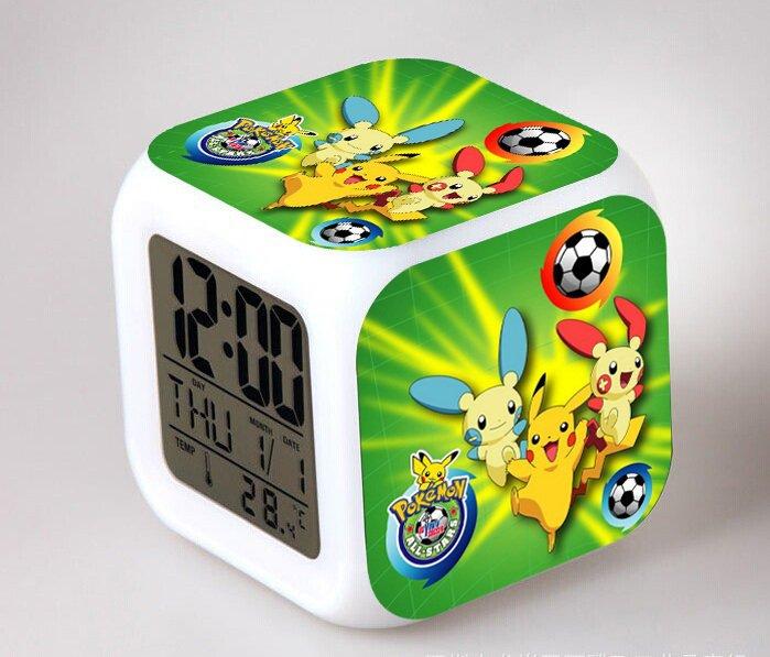 Pokemon Figure Toy Pikachu LED 7 Colorful Flash alarm clock