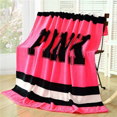 Pink  Blanket Fleece Bedding Throw