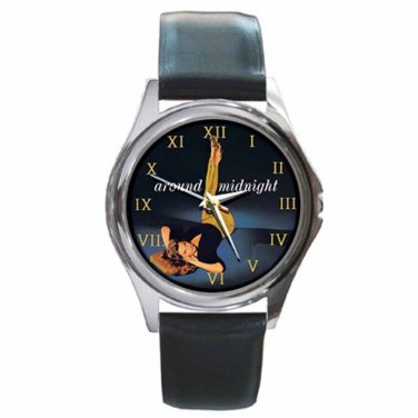 JULIE LONDON AROUND MIDNIGHT Sexy! Hot! Round Silver Metal Watch Leather Band