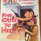 FIVE GATES TO HELL Dolores Michaels Patricia Owens WW2 Original Movie Poster