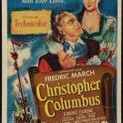 CHRISTOPHER COLUMBUS Fredric March Florence Eldridge Original Movie Poster