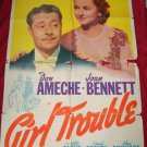 GIRL TROUBLE Don Ameche FOX Original Movie Poster