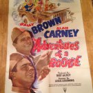 THE ADVENTURES OF A ROOKIE Wally Brown Alan Carney Original Movie Poster SWEET!