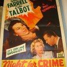 NIGHT FOR CRIME Glenda Farrell Lyle Talbot Original Movie Poster PRC Ultra RARE!