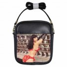 BETTIE PAGE RED HOT AND BENT OVER Leather Sling Bag Small Purse