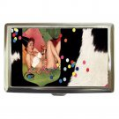 1950's Party Girl and Cowhide Cigarette Money Case ID Holder or Wallet! WOW!