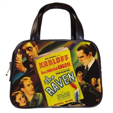 THE RAVEN Bela Lugosi Boris Karloff Poe Classic Black Leather Handbag Purse