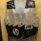 FAbulous!! Theo Black & Silver Sequin With Beaded Trim  Vest Size 3X