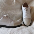 Sharp Nike Air White and Tan Leather Womens Cleat Golf Shoes Size 7.5