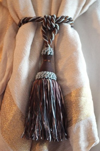 Super HUGE Super GORGEOUS Wedgewood Blue and Brown Drape Tie Back Tassel
