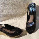 Super Cute Alfani Black and Espedrille Wedges Peek Toe Shoes Size 9.5