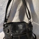 Tignanello Black Leather Purse With Additional Exterior & Inside Pockets