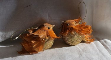 002 Gorgeous Lot of 2  Vintage Bird Ornament with Feathers
