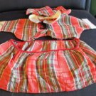 Fabulous Very Important Vintage Plaid Skirt, Hat, And Shirt Doll Dress AS IS