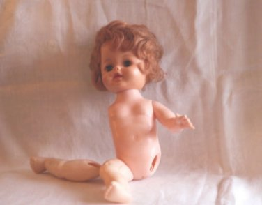 010 Vintage Plastic Doll unknown Maker For parts Head and Body