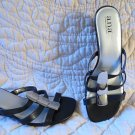 Beautiful Ana Black Leather Sandals With Silver Gorgeousness Metal Size 7.5