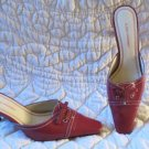 Gorgeous Gloria Vanderbilt Red Mules Heels Shoes Size 6