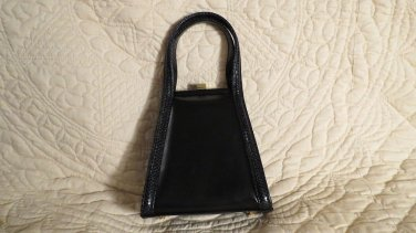 NEW TRuly Exquiste and very Petite Black Snake and Leather Ganson Handbag Purse