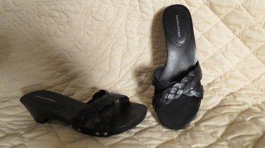 Fabulous Banana Republic Black Sandals Braided Leather STuds Shoes Size 6