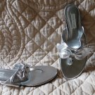 NEW Gorgeous Silver Leather Lord & Taylor Flip Flop Sandals Size 10