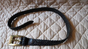 "Fabulous DKNY Donna Karan New York Black Leather Woven Belt 35"" Long Small Med"