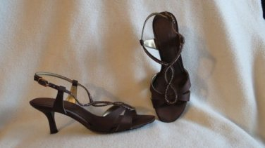 Stunning Sexy Metaphor Brown Satin with Crystals Evening  Shoes Size 7