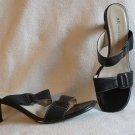 Fabulous Anne Klein Black Leather Sandals Shoes Size 6
