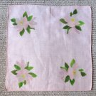 023 Beautiful Hand Painted Pink Flowers Vintage Handkerchief Hankie