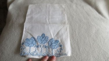 021 Vintage White with Blue Embroidery and Design Hand Towel Linens