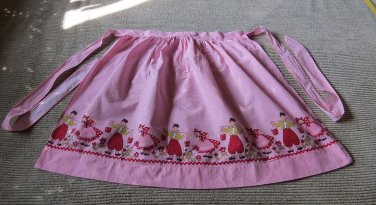 Charming Pink & White Checked Dutch Holland  Printed Theme Vintage Apron