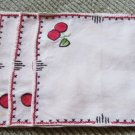 Super cute Cherries EMbroidered on These 4 Vintage Lunchion Napkins