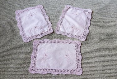 Spectacular Set of 3 Unique Vintage Intricate Embroidered & Crochet Doilies