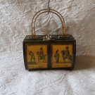 Vintage 1970's Wood Decoupage Box Purse Signed by Artist Can't Read who Though