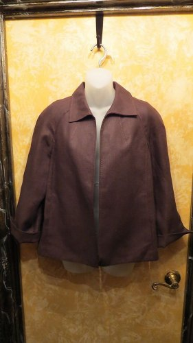 Talbots New w Tag Brown Irish Linen Blazer Jacket With 2 Exterior Pockets Size M