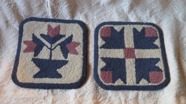 Set of 2 Very Small Vintage Handmade Hand Hooked Lambs Wool Rugs Taylorsville SC