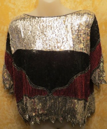Jeffrey Lawrence For Lawrence Bently Silver Black And Red Silk & Sequin Top M/L