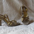 "Super Sexy Charles David Gold Leather VEry Unique  Sandals Size 8 4"" Heel"