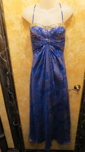 Stunning Cobalt Blue & Gold  Aidan Mattox Evening Gown SEE DESCRIPTION For SIZE