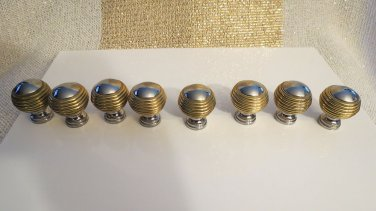 Huge Lot Of 8 Very High End Fabulous Gold and Silver Drawer Pull Cabinet Knobs