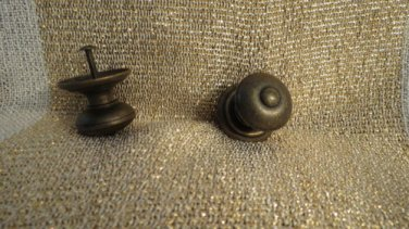 Huge Lot 2 vEry Heavy Drawer Pull Knobs Antiqued Brass Finish Round Shape